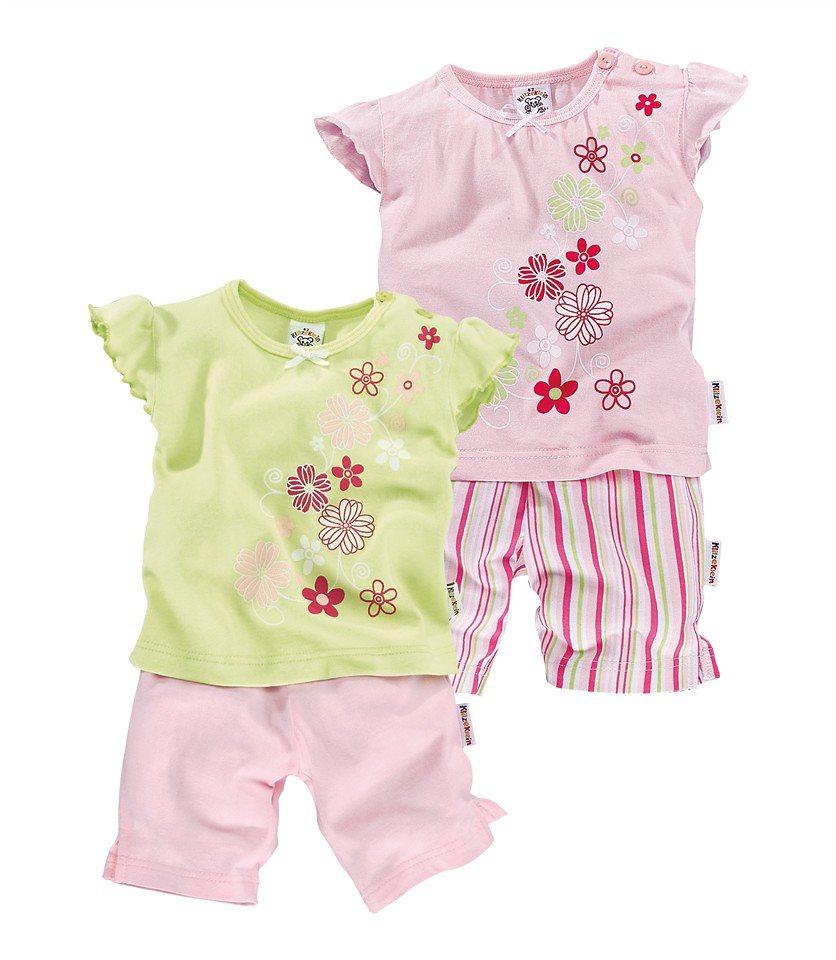 Klitzeklein T-Shirt & Shorts (Packung, 4 tlg.) in rosa+hellgrün+gestreift
