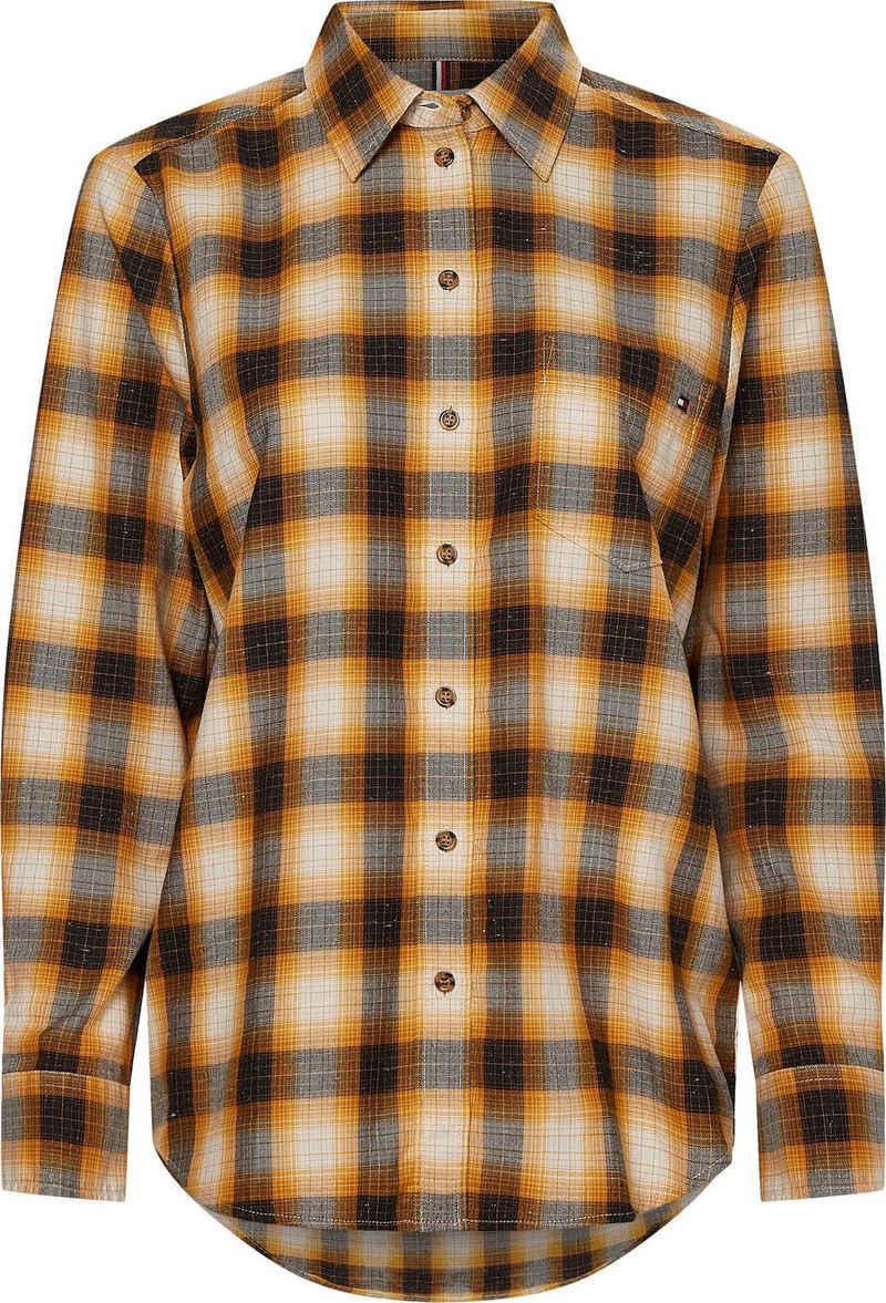 Tommy Hilfiger Hemdbluse »CHECK FLANNEL RELAXED SHIRT LS« mit kleiner Logo-Stickerei