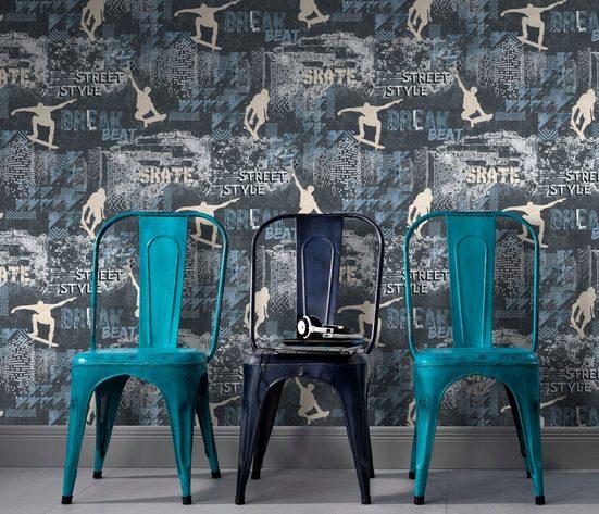 Erismann Vinyltapete, Mustertapete, 10141-08 Sweet and Cool Wandtapete Muster/Motiv blau Tapete