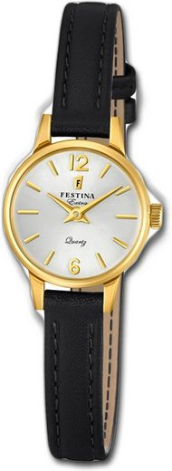Festina Quarzuhr »D2UF20261/1 Festina Leder Damen Uhr F20261/1«, (Quarzuhr), Damenuhr mit Lederarmband, rundes Gehäuse, klein (ca. 20mm), Elegant-Style