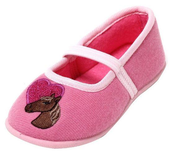dynamic24 Hausschuh Mädchen Kinderschuhe Ballerina Slipper mit Pferd Schuhe Puschen pink