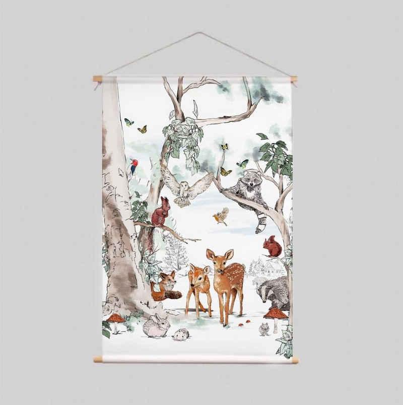 Cosy Home Ideas Wanddekoobjekt »Wandbehang Stoff Märchenwald 60x80 cm für Kinderzimmer Mädchen« (1 Stück, 1 Wandbehang Stoff), knitterfrei waschbar