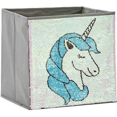 STORE IT! Aufbewahrungsbox »Aufbewahrungsbox Pailletten Katze, rosa/blau«