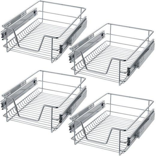 tectake Schublade »4 Teleskopschubladen für Küchen- und«
