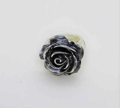 Mein Style Fingerring »elastischer Ring Rose silber-blau RM 009«, elastischer Ring
