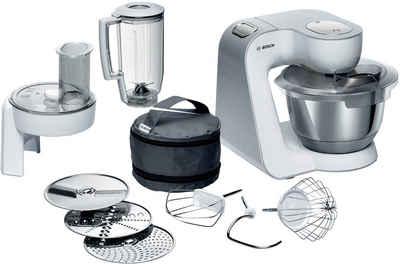 BOSCH Küchenmaschine CreationLine MUM58W20, 1000 W, 3,9 l Schüssel, vielseitig einsetzbar, Mixer, Durchlaufschnitzler, 3 Reibescheiben, weiß/silber