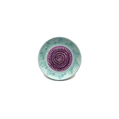 Kaladia Multireibe »Reibeteller in türkis und lila«, Keramik, handbemalte Küchenreibe - Made in Spain