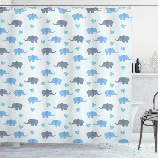 Abakuhaus Duschvorhang »Moderner Digitaldruck mit 12 Haken auf Stoff Wasser Resistent« Breite 175 cm, Höhe 180 cm, Elefant Große Tiere punktierte Herzen