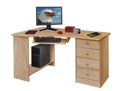 Moebel-Eins Schreibtisch, LEARD PC-Schreibtisch, Material Massivholz, Kiefer lackiert
