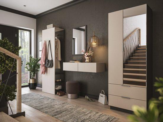 Emotion Garderoben-Set »Garderobe Blu-XL 4 tlg Paneel Konsole Softclose Spiegel 30 Paar Creme-Grafit«