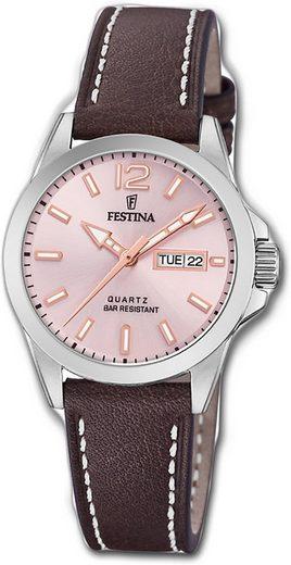 Festina Quarzuhr »D2UF20456/2 Festina Leder Damen Uhr F20456/2«, (Quarzuhr), Damenuhr mit Lederarmband, rundes Gehäuse, klein (ca. 30mm), Elegant-Style