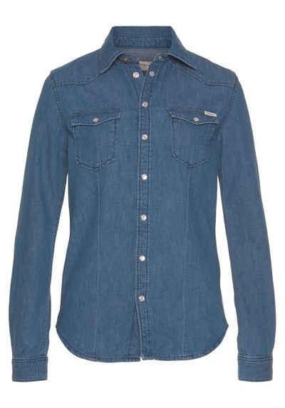 Pepe Jeans Jeansbluse »ROSIE« mit aufgesetzten Brusttaschen und Kentkragen in toller Waschung