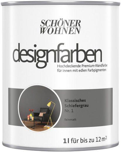 SCHÖNER WOHNEN-Kollektion Wand- und Deckenfarbe »Designfarben«, hochdeckend, Klassisches Schiefergrau, matt, 1 l
