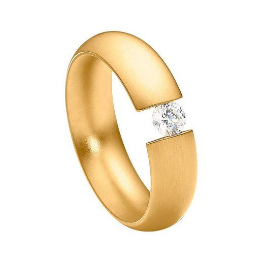 Heideman Fingerring »Intensio Gewölbt goldfarbend« (1-tlg), Ring mit Stein als Spannring gearbeitet