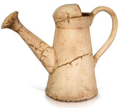 PLATINUX Gartenfigur »Steingut Deko Gießkanne«, (1 Stück), Braun Gartendeko 36x16,5x26,5cm Handgemacht Steinoptik Keramikgießkanne Handmade Groß