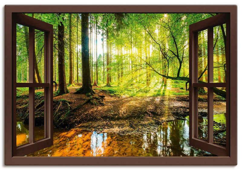 Artland Wandbild »Fensterblick - Wald mit Bach«, Wald (1 Stück), in vielen Größen & Produktarten -Leinwandbild, Poster, Wandaufkleber / Wandtattoo auch für Badezimmer geeignet