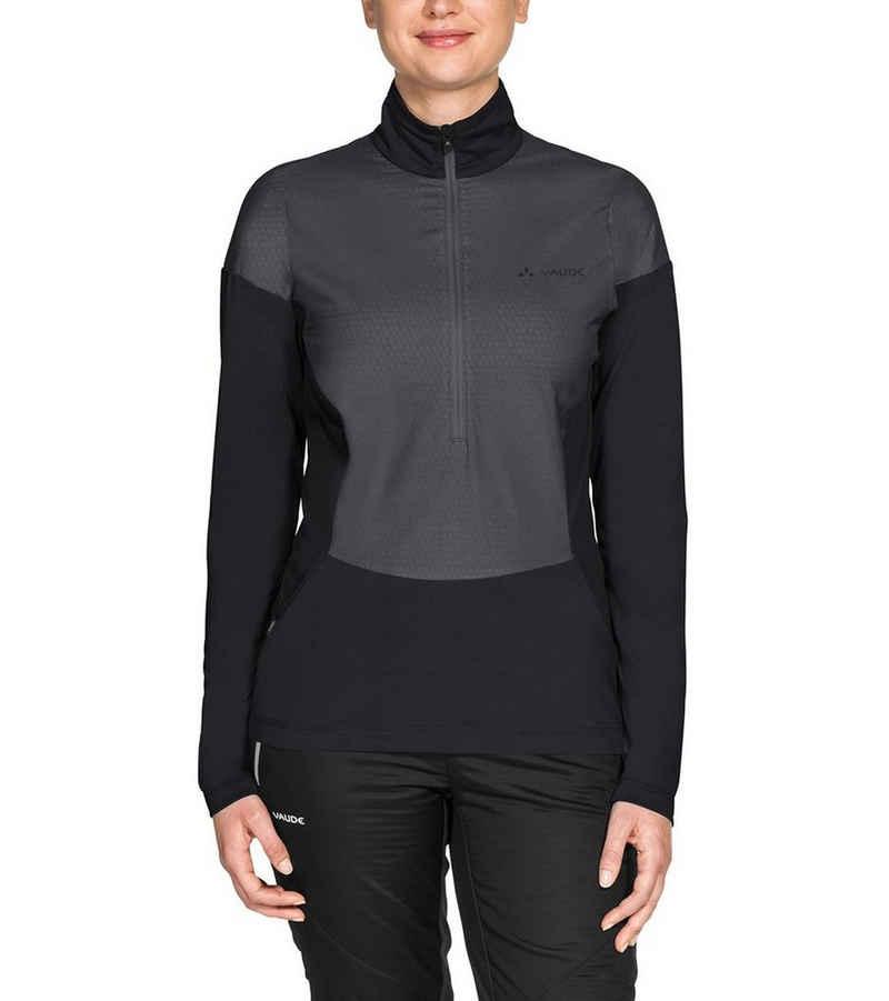 VAUDE Rundhalsshirt »VAUDE Outdoor-Longsleeve elastisches Damen Funktions Sport-Shirt Bormio Zip Hybrid-Pullover Schwarz/Grau«