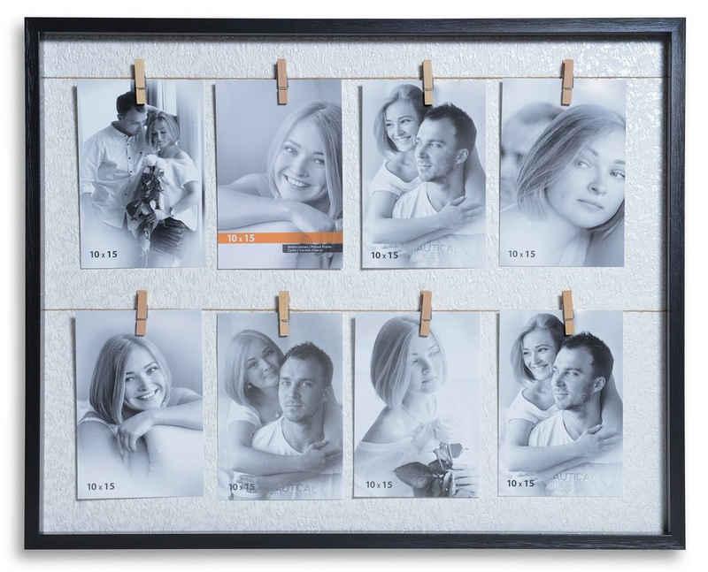 Victor (Zenith) Bilderrahmen Collage »Clip Rahmen«, in schwarz für 8 Bilder in 10x15 cm - Rahmen aus Holz mit extra Klammern zum anheften von Fotos