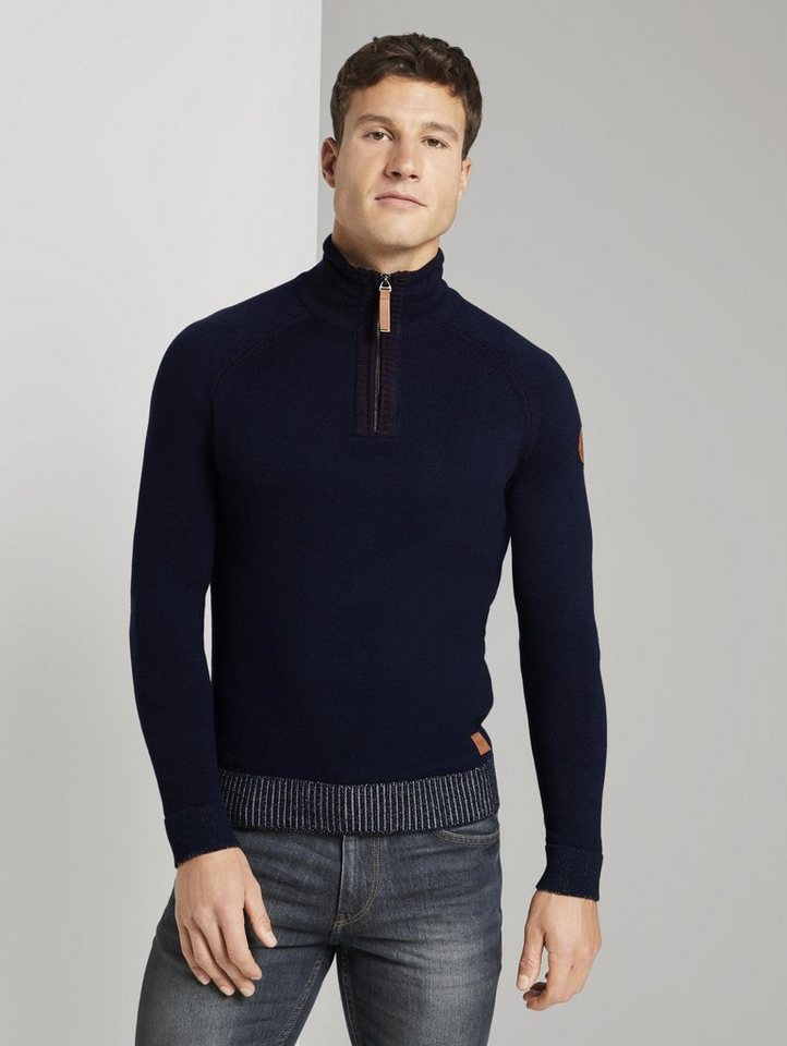 tom tailor -  Strickpullover »Melierter Troyer Pullover«