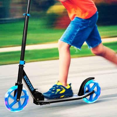 COSTWAY Elektro-Kinderroller »Cityroller, Kickscooter«, klappbar, höhenverstellbar, 100kg Tragkraft, mit 2 LED Rädern