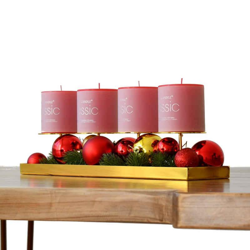 Blue Chilli Design Kerzenhalter »Adventskranz« (Set, Kerzenhalter mit 4 Kerzen), Goldfarben, Edelstahl, poliert inkl. 4 rote Kerzen