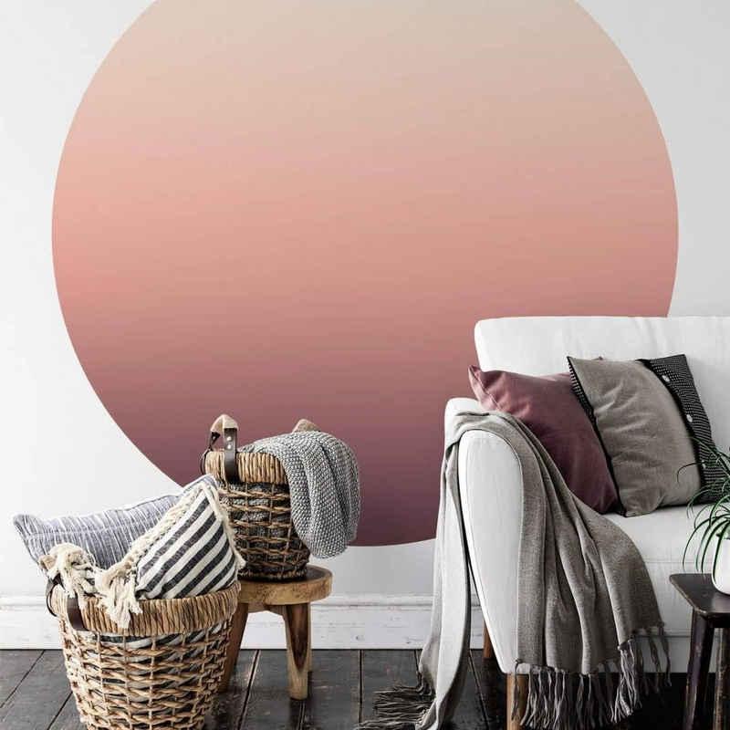 K&L Wall Art Fototapete »Runde Fototapete Ombre Farbverlauf Tapete Rosa Himmel Vliestapete Schlafzimmer«, Sunset
