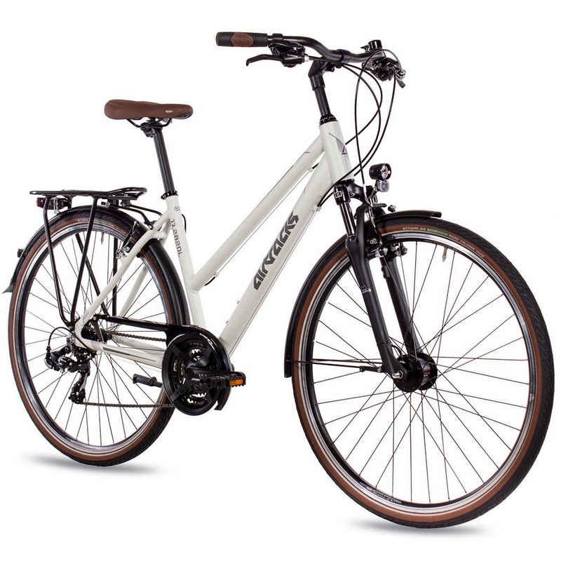 Airtracks Trekkingrad »Damen Trekking Fahrrad 28 Zoll Trekkingrad TR.2820L«, 21 Gang SHIMANO ACERA RD-T3000, Kettenschaltung, Weiß Matt - Rahmenhöhen 48 cm & 52cm » Modeljahr 2021 «