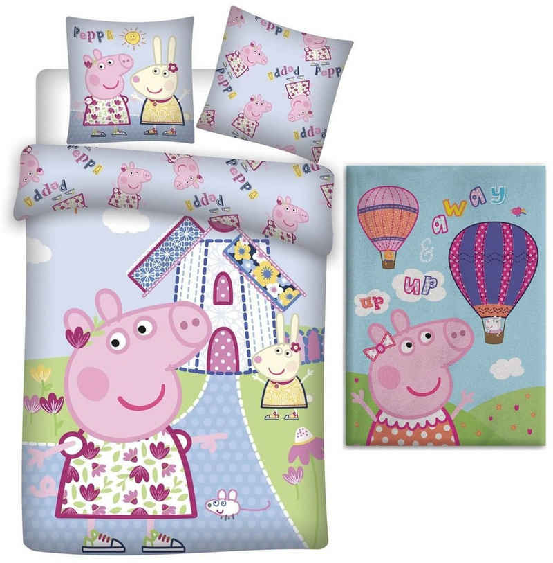 Babybettwäsche »Peppa Pig - Baby-Bettwäsche-Set, 100x135 und Fleecedecke, 100x140«, Peppa Pig, 100% Baumwolle
