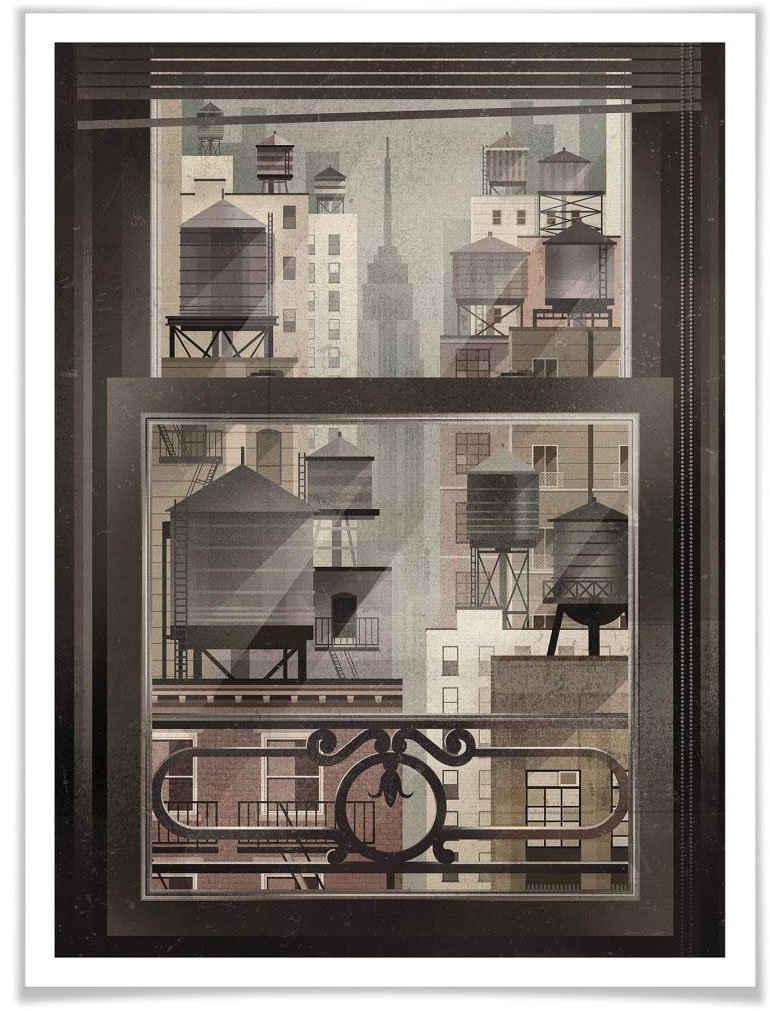 Wall-Art Poster »NYC Watertowers«, New York (1 Stück), Poster, Wandbild, Bild, Wandposter