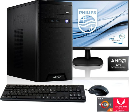 Hyrican »PC Ryzen 5 3400G 16GB RAM 1TB SSD + 61 cm (24) TFT« Gaming-PC-Komplettsystem (24 Zoll, AMD Ryzen 5, Radeon Vega 11, 16 GB RAM, 1000 GB SSD)