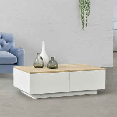 en.casa Couchtisch, »Kagiso« Wohnzimmertisch mit 4 Schubladen 95x60x31cm Weiß/Holzfarben