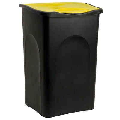 Deuba Mülleimer, 50 L Schwarz Gelb Abfallbehälter Müllsystemtrennung Kunststoff Papierkorb Küche