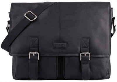 LEABAGS Umhängetasche »Cambridge«, Umhängetasche Schultertasche Laptoptasche 15 Zoll aus Echtleder, (LxBxH) ca. 38 x 10 x 31 cm - OnyxBlack