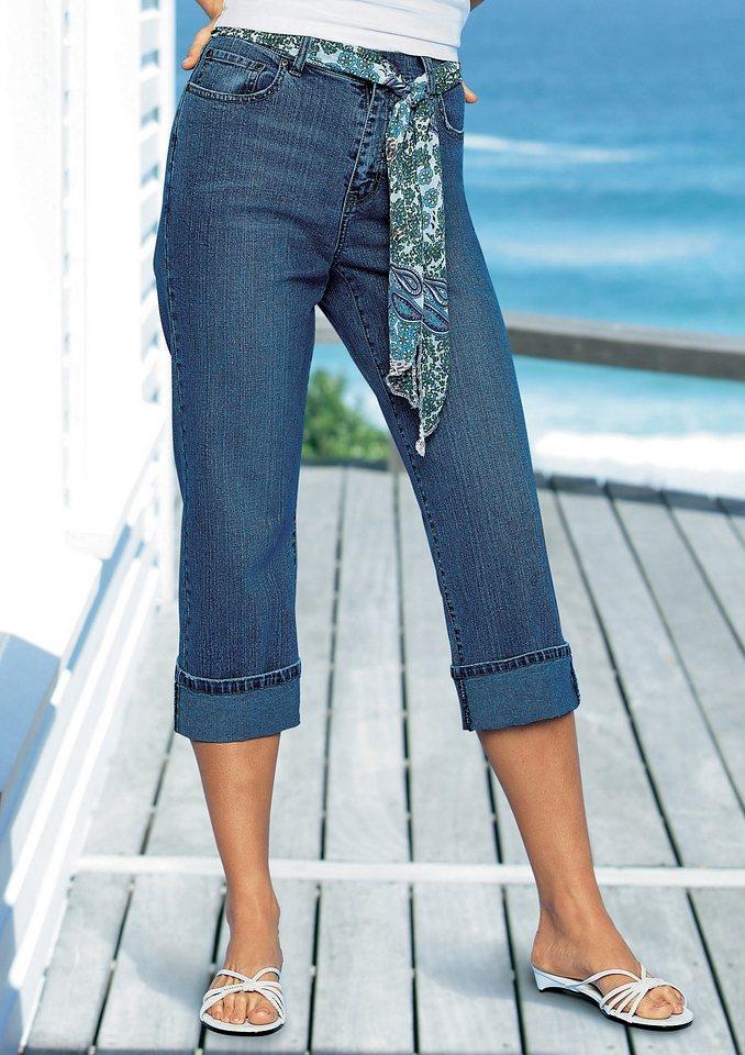 Création L 7/8-Jeans mit Aufschlag am Beinabschluss in dark blue