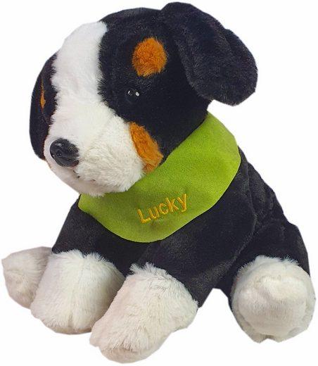 Heunec® Kuscheltier »Berner Sennenhund, 38 cm«, mit grünem Halstuch und individueller Bestickung