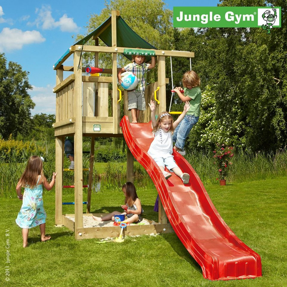 jungle gym spielturm lodge rutsche rot kaufen otto. Black Bedroom Furniture Sets. Home Design Ideas