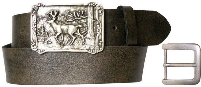 FRONHOFER Koppelgürtel »17759« Trachtengürtel Herren Hirsch Gürtelschnalle silbern, rechteckig, XXL