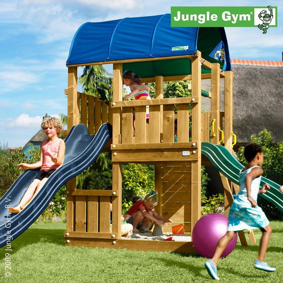 jungle gym spielturm farm rutsche blau kaufen otto. Black Bedroom Furniture Sets. Home Design Ideas
