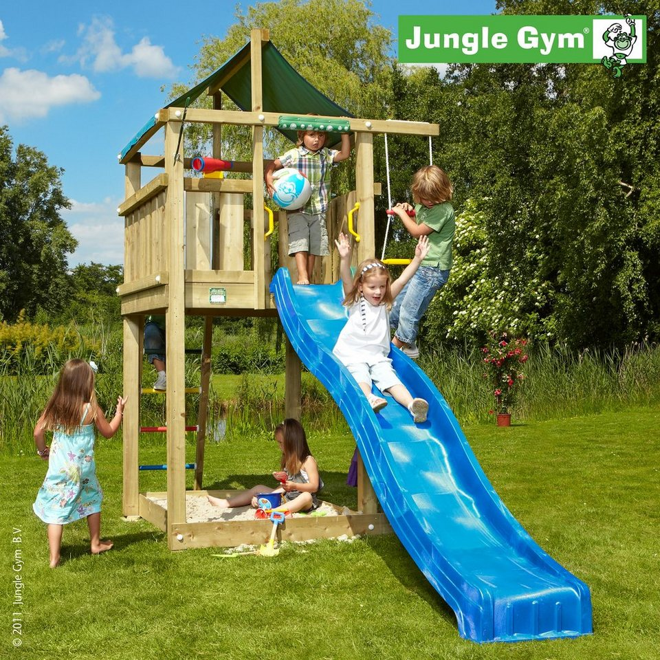 jungle gym spielturm lodge rutsche blau kaufen otto. Black Bedroom Furniture Sets. Home Design Ideas