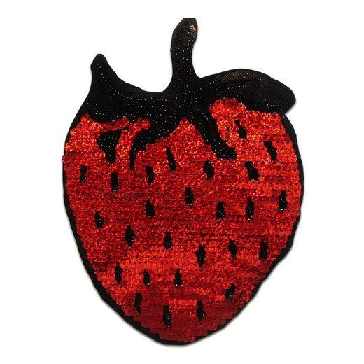 Catch the Patch Aufnäher, Kunststoff, XL Erdbeere Frucht mit Pailletten - Aufnäher, Applikationen, Patches, Flicken, zum aufnähen, Größe: 16,5 x 23,5 cm