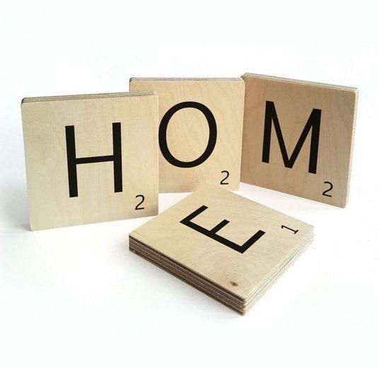 Wall-Art Wandspruch »Scrabble Deko Buchstaben Home« (Set, 4 Stück)