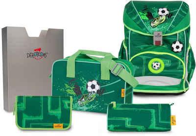 DerDieDas® Schulrucksack »ErgoFlex Superlight - Green Goal« (Set)