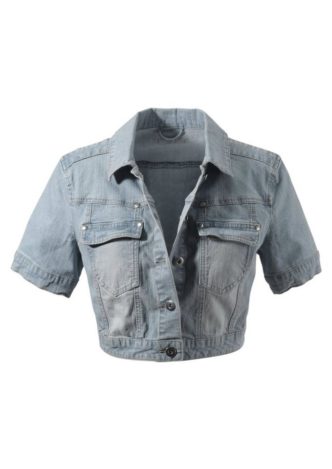 Aniston Jeansjacke in Used-Washung in blue-bleached