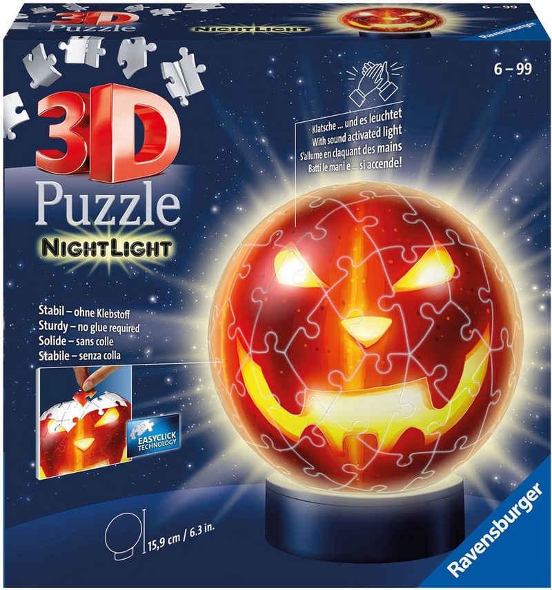 Ravensburger Puzzleball »Nachtlicht Kürbiskopf«, 72 Puzzleteile, mit Leuchtmodul inkl. LEDs; Made in Europe; FSC® - schützt Wald - weltweit