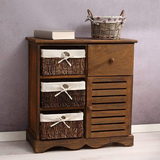 Mucola Kommode »Schrank Kommode Vintage braun mit Körben + Schublade Regal Flur Highboard Diele Shabby«, Breite 59,5 cm