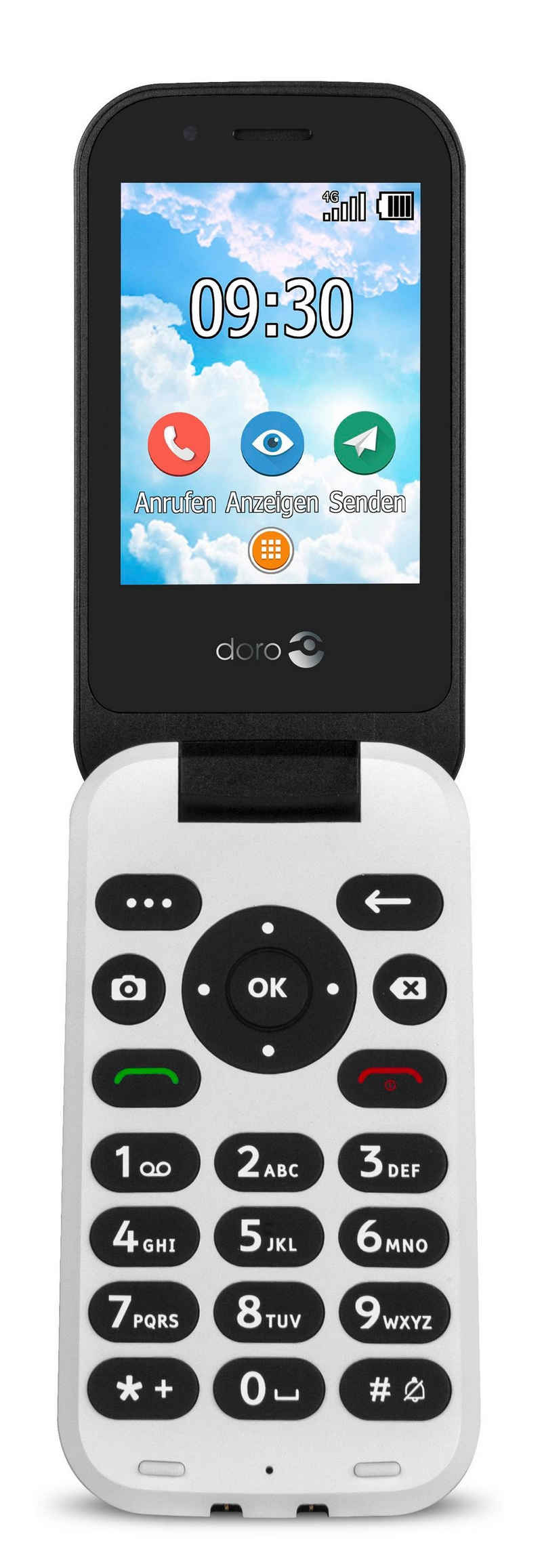 Doro 7030 schwarz Seniorenhandy (7,11 cm/2.8 Zoll, 3 MP Kamera, GPS, Notruftaste, bis zu 500 Telefonbucheinträge, SOS, Große Tasten, Whatsapp und Facebook)