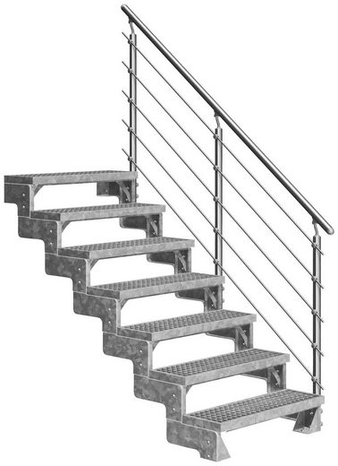DOLLE Außentreppe »Gardentop«, für Geschosshöhen bis 154 cm, Gitterroststufen 80 cm