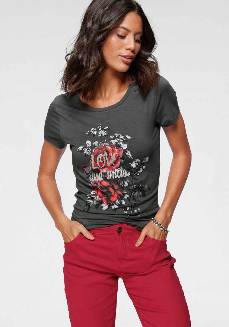 Laura Scott Rundhalsshirt mit floralem Rosen-Print
