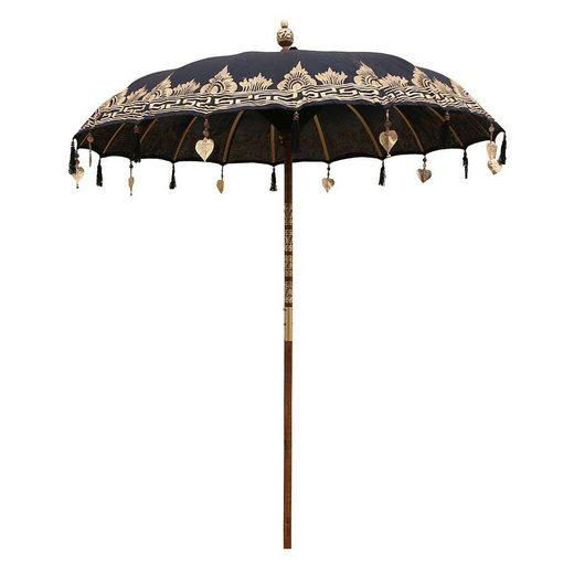 Oriental Galerie Sonnenschirm »Balinesischer Sonnenschirm 180 cm Einfache Bemalung Schwarz Gold«, Handarbeit