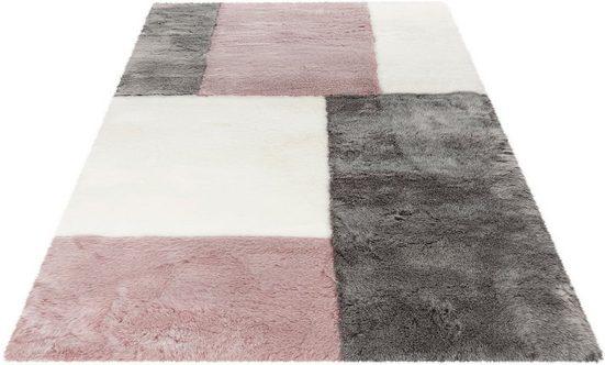 Fellteppich »My Samba Patch 380«, Obsession, fellförmig, Höhe 35 mm, Kunstfell, handgetuftet, Patchwork Design, Wohnzimmer